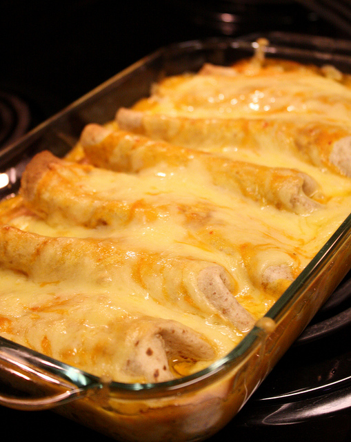 Chicken Enchiladas with Creamy Pumpkin Sauce